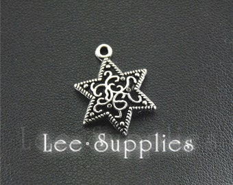 30pcs Antique Silver Filigree Star Drop Charms Pendant A1502