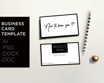 Modern business card template / creative calling card / minimal design / black & white business card