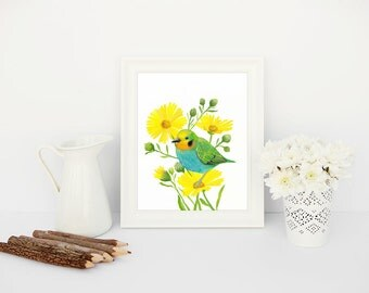 Bird Print, Watercolor Floral + Gouache Bird Art Printable Wall Decor