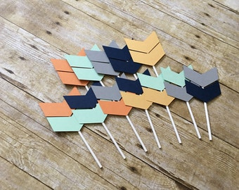 Tribal Cupcake Toppers--- Tribal Party Toppers-- Cupcake toppers-- Arrow Cupcake Toppers--