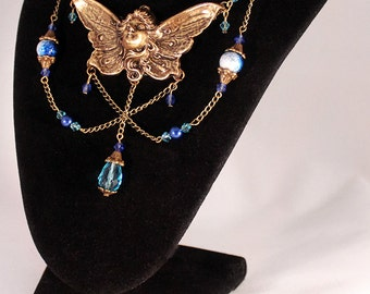 Art Nouveau Blue Faerie Necklace & Earring Set