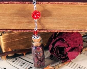 Red Rose Petals Vial Necklace