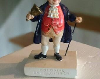 Colonial Bell Ringer/ Sebastian Miniature Chalkware/ Vintage Woodbury Massachusetts