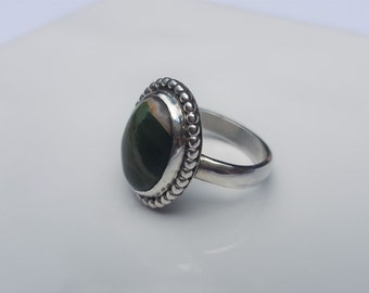 Sterling Silver & Green Rhyolite Cabachon Ring