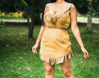 Disney cosplay costume Pocahontas, Disney Princesses, Indian Princess, Yellow dress, Cute Cartoon Princess, Halloween costume Custom Order