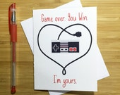 Nintendo Love Card, NES, Romantic Card, I Love You, Happy Anniversary, Video Game Nerd, Card for Boyfriend, Card for Husband, Greeting Cards