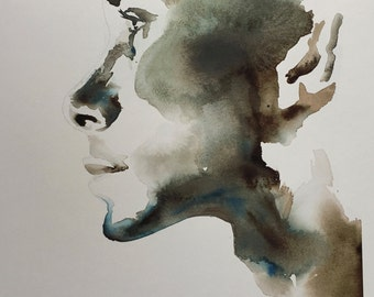 "Portrait II GICLEE PRINT of watercolour painting 11.5 "" x 16"""