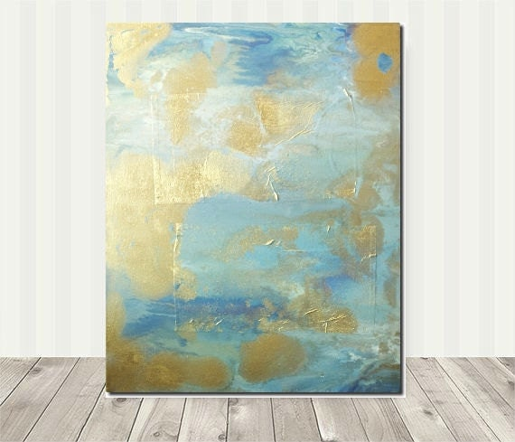 teal blue art gold artturquoise white gray original abstract. Black Bedroom Furniture Sets. Home Design Ideas