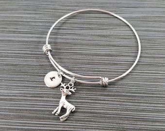 Reindeer Bangle Bracelet- Reindeer Charm Bracelet - Adjustable Bracelet Bangle - Deer Bracelet - Initial Bracelet - Holiday Bracelet