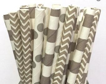 Gray Paper Straws- Set of 25 - Chevron Polka Dot Stripe - Gray Straws - Cake Pop Sticks - Drinking Straws