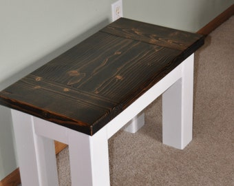 Farmhouse Bench, Solid Wood, Rustic or Modern, Customizable!