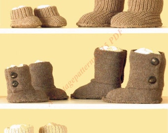 Hug Slippers Knitting Pattern DK 1 Year - Adults -   PDF Download