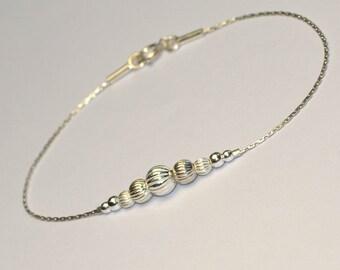 BEADED BAR Bracelet Silver // Tiny Silver Bracelet - Long Bar Bracelet - Dainty Beaded Bracelet - Horizontal Bar Bracelet
