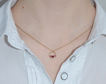 Ruby Necklace // Ruby Jewelry - Ruby Drop Necklace Gold - Ruby Charm Necklace - Pendant Necklace - Simple Necklace