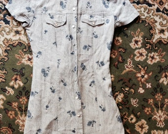 90s babydoll mini dress grey and blue flower print grunge hipster