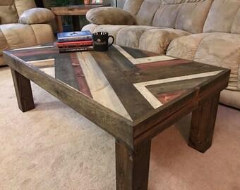 Rustic Herringbone Style Coffee Table