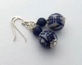 Delft blue earrings / blue and white Delft earrings / Delft porcelain earrings / white ceramic earrings / something blue delicate earrings