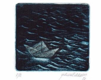 Original Print, mezzotint, monoprint. Paper boat blue