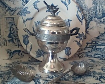 Antique Silver Sugar/Spooner Bowl with Sparrow Finial Lid