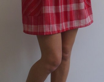 Vintage Red Linen Striped Skirt size 4 by Personal
