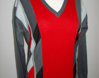 Vintage mens sweater jumper by Gabicci v neck red grey size medium