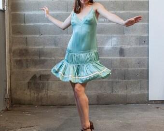 Dress 100% silk Sandro blue celadon / jade
