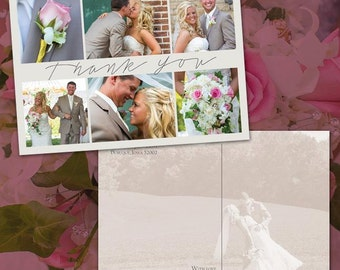 "4x6"" Thank You Wedding Postcard - Photo Collage Postcard, DIY"