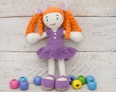 Red haired crochet doll in lilac dress Amigurumi girl Erica doll Small soft doll Stuffed rag toy Children's toy Interior doll Gift ideas