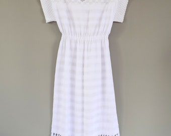 Woven Mexican Summer Dress in White Cotton with Long Fringe