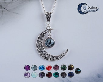 Moon necklace Celtic necklace Crescent moon Celtic moon jewelry Witch necklace Gothic necklace Marble jewelry Moon jewelry Silver pendant