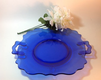 Vintage Cobalt Blue Glass Plate with Handles Shabby Cottage Chic Serving Plate Decorative Accent Hostess Gift