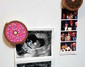 Donut magnets, wooden sprinkled donuts, donut decor, kitchen decor - set of 2