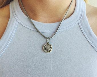 Grey Suede Love Pendant Necklace