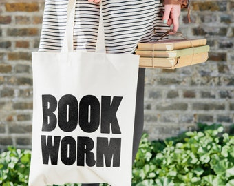 Canvas School Tote - Bookbag - Teacher Book Bag - Canvas Book Tote - Cotton Tote Bag - Book Worm Tote Bag - Alphabet Bags