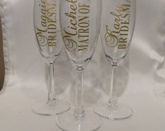 SALE: Bridal Party Champagne Glasses, Bridesmaid Maid of Honor Mother of Bride Gifts, Champagne Toast, Wedding Champagne Flutes, Personalize