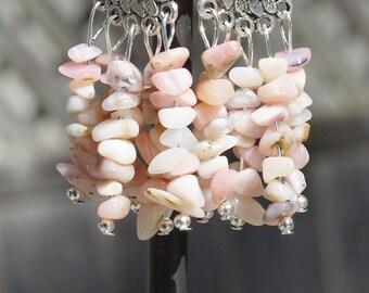 Pink Opal Earrings ~ Natural Opal Stone Chandelier Earrings ~ Pink Stones ~ Birthday Gift ~ Bohemian Jewelry ~ Boho Style ~ Anniversary