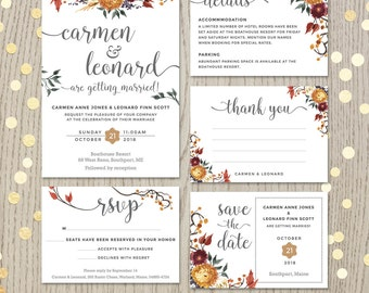 fall wedding invitation set floral wedding autumn flowers personalized invitation customized cards