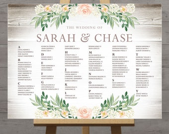 View wedding seating charts by handsintheattic on etsy rustic seating charts for weddings chart ideas poster wedding table seating chart printable floral junglespirit Gallery