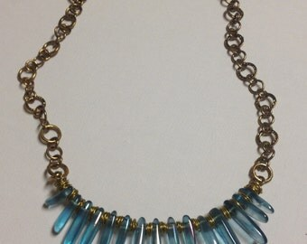 Translucent Blue Glass Beads with Antique Gold Necklace
