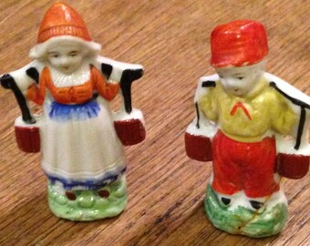 Vintage Dutch Boy and Girl Carrying Water Buckets Figurines. Made in Japan