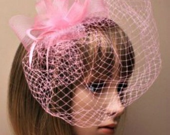 Pink Hat Facinator Feathers and Net. Facinator Headband, Head Piece, Mother of the Bride, Christening