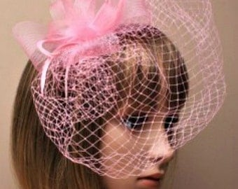 Pink Hat Fascinator Feathers and Net. Facinator Headband, Head Piece, Mother of the Bride, Christening