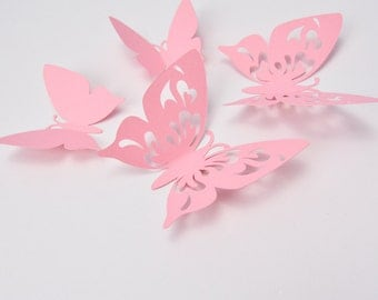 Pink Paper Butterflies Party - Paper Butterfly Wall - 3D Paper Butterflies Sticers - Wall Butterfly Decoration - Butterfly Birthday Decor