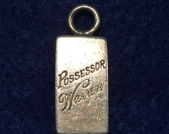 "Sterling Possessor Charm - 13/32""W X 3/4""H X 5/16""thick -  Ca 1960's - Item# Ch391"