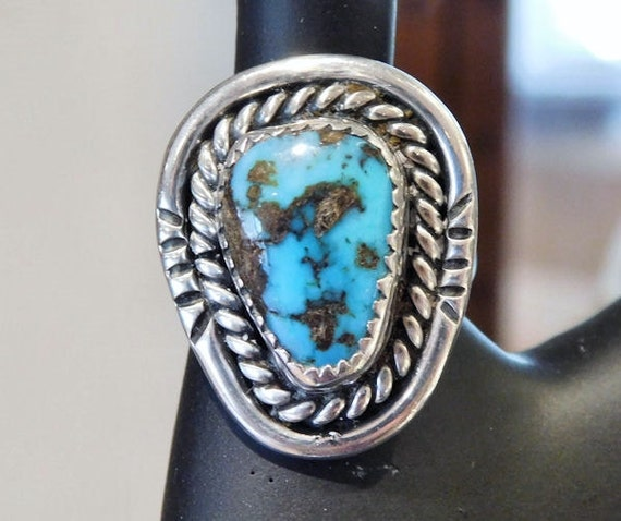Vintage Turquoise Ring Morenci Sterling Silver Ring Native American Southwestern Turquoise Vintage Jewelry Artisan Hand Crafted 1970s