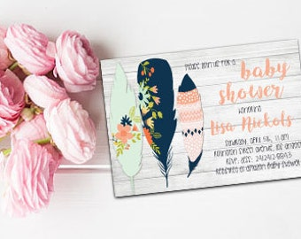 Boho Feathers baby shower invite Boho feathers invite Bohemian invitation Feathers baby shower Boho baby shower Printable Feathers invite