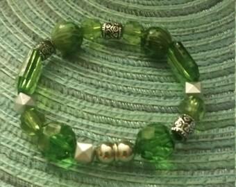 Envious Green Beaded Bracelet
