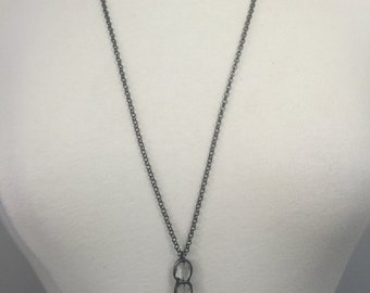 Gunmetal rolo chain with a handmade soldered crystal bar