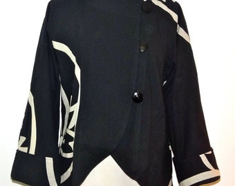 Beautiful Asian Inspired  Black Cotton Jacket  - FA14-6010