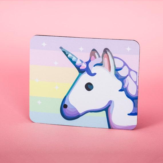 Unicorn emoji rainbow sparkle mouse pad - mouse mat - desktop mouse mat - funny mouse mat - computer pad 3P014